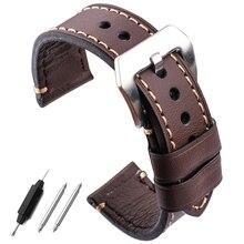 Handmade Genuine Leather Watch Bands Belt 22mm 24mm Women Men Black Brown Watchbands Strap With Stainless Steel Pin Buckle цена в Москве и Питере