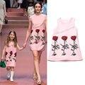 Девушки летнее платье принцессы костюм 2016 бренд детей платье девушка одежда цветочным узором дети одеваются для девочек платья для девочек