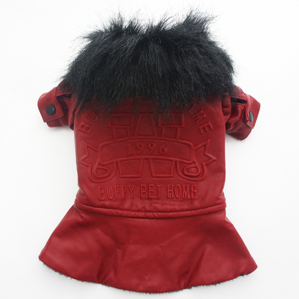 Leather jacket for dogs - Dog Cat Princess Pu Leather Coat Jacket Pet Puppy Dress Waterproof Clothes Fur Collar Design 3