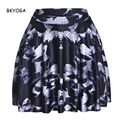 BKYOGA New Flying Cow Digital GALAXY Print SKATER SKIRT Above The Knee Saia De Renda Drop Shipping