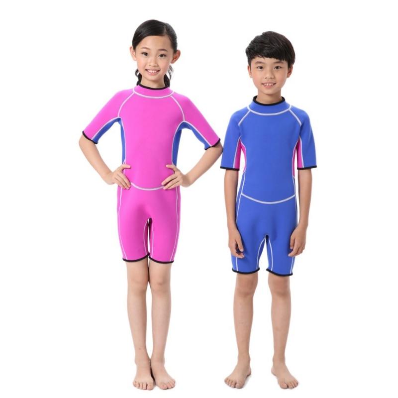 One-piece Neoprene Wetsuits Kids Swim Wears Diving Suits Short Sleeves Boys Girls Surfing Children Rash Guards 2.5MM