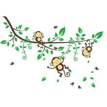 2017 hot Jungle Monkeys Tree Wall Sticker Decal Kid Nursery Baby Decoration Decal vinyl art baby room decor free shipping new