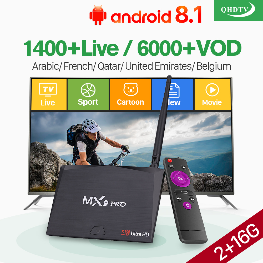 QHDTV IPTV Receivers with 1 Year France Arabic Holland Italia IP TV Android 8.1 RK3328 MX9 Pro TV Box Arabic France IPTV