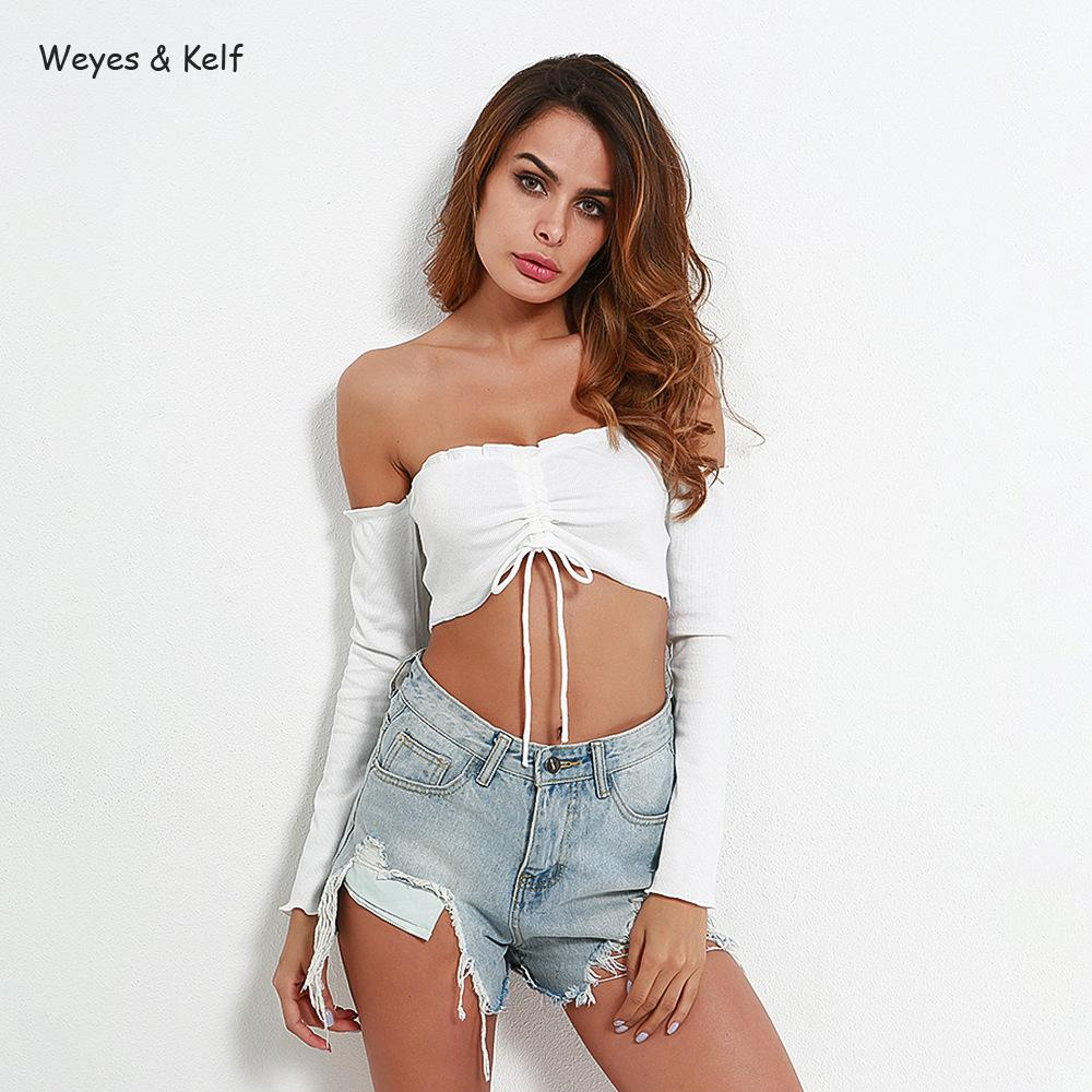0f064255 Weyes & Kelf Knitted Sexy Off Shoulder Summer T Shirt Women 2018 Full Bra  Pleated Backing Long Sleeve Casual Tees Sexy Crop Top-in T-Shirts from  Women's ...