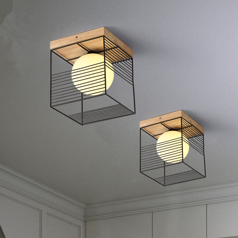 2019 New Nordic Indoor Wood Led Ceiling Light Fixture Luminaire Modern Iron Net Bedroom Corridor Hallway Mount Lamp Aisle Decor