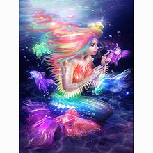 Beautiful mermaid diamond Embroidery diy painting mosaic diamant 3d cross stitch pictures H638