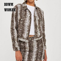 Snake Grain Printed Short Women Jacket Retro Casual Lapel Single Breasted High Street Female Coat ZO1559