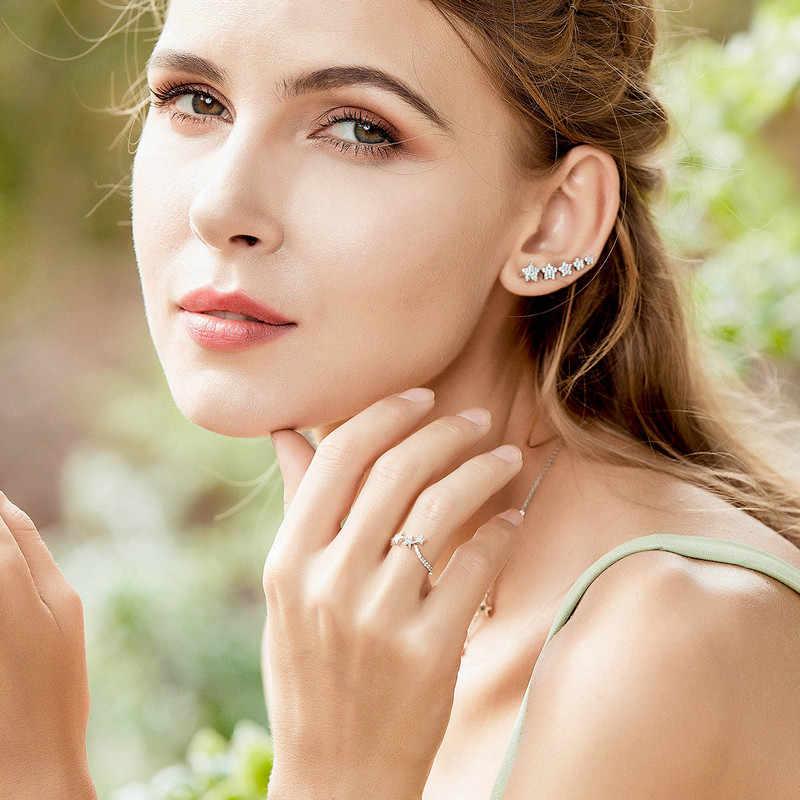 BAMOER 100% authentique 925 argent Sterling empilable étoile réglable bague pour les femmes en argent Sterling bijoux cadeau SCR312