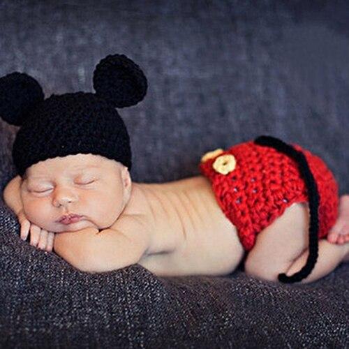 Baby Haak Photo Props Broek Baby Baby Gebreide Dier Patroon Beanie
