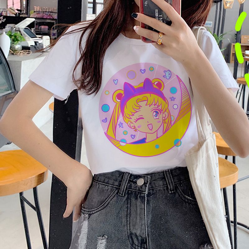Sailor Moon Kawaii Harajuku T Shirt Women Korean Style Ullzang T-shirt 90s <font><b>Graphic</b></font> Cute <font><b>Tshirt</b></font> Grunge <font><b>Aesthetic</b></font> Top Tees Female image