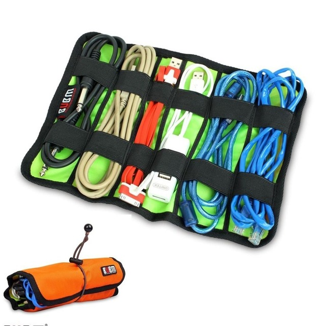 Rolling Up Cable Organizer System Kit Storage Bag for USB Cable Earphone  Pen Batteries Tools