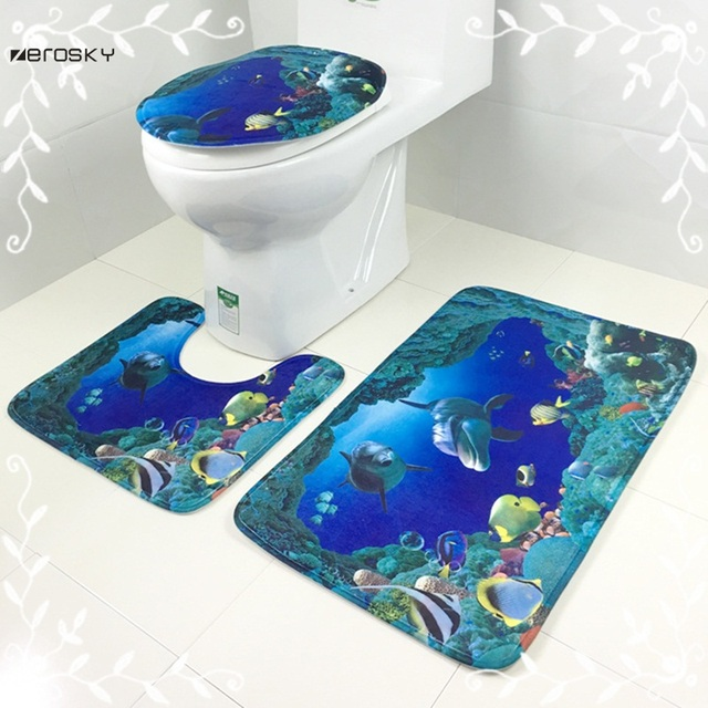 Zerosky 3 Pz/set tappetini Da Bagno Antiscivolo Cartoon Sea World ...