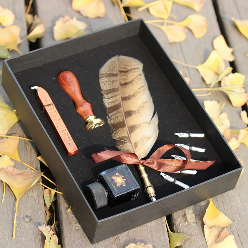Best Antique Nature Owl Feather Dip Pen Set English Calligraphy Pen Christmas Gift nature explorer box set