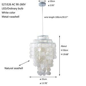 Image 3 - Современная Белая Подвесная лампа в скандинавском стиле из натуральных морских ракушек, светильник E27 светодиодные лампы для дома deco для спальни, гостиной, ресторана