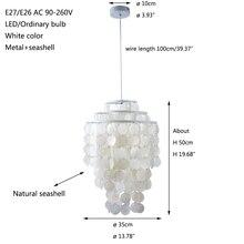 Modern nordic white natural seashell hanging pendant lamp fixture E27 LED Lights for home decor bedroom living room restaurant