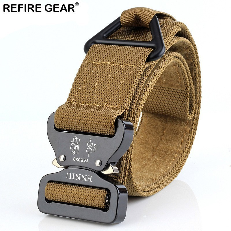 Refire Gear Tactical Nylon Belts Men Metal Buckle Elastic Waist Belt Strap Male Survival Adjustable Soldier Swat Military Belt Smoothing Circulation And Stopping Pains