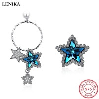 LEKANI Trendy Star Earrings 925 Sterling Silver Earrings For Women Fine Jewelry Crystals From Swarovski 2018