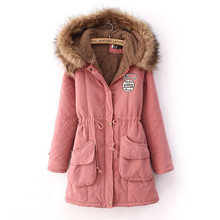 2014 hot sales Lamb thick hooded coat collar ovo Girls long section of Korean women jacket