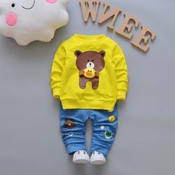 BibiCola toddler Boy's clothing sets spring Baby Sets cotton Infant tracksuits Kids sport cartoon bear coats+pants 2pc suit