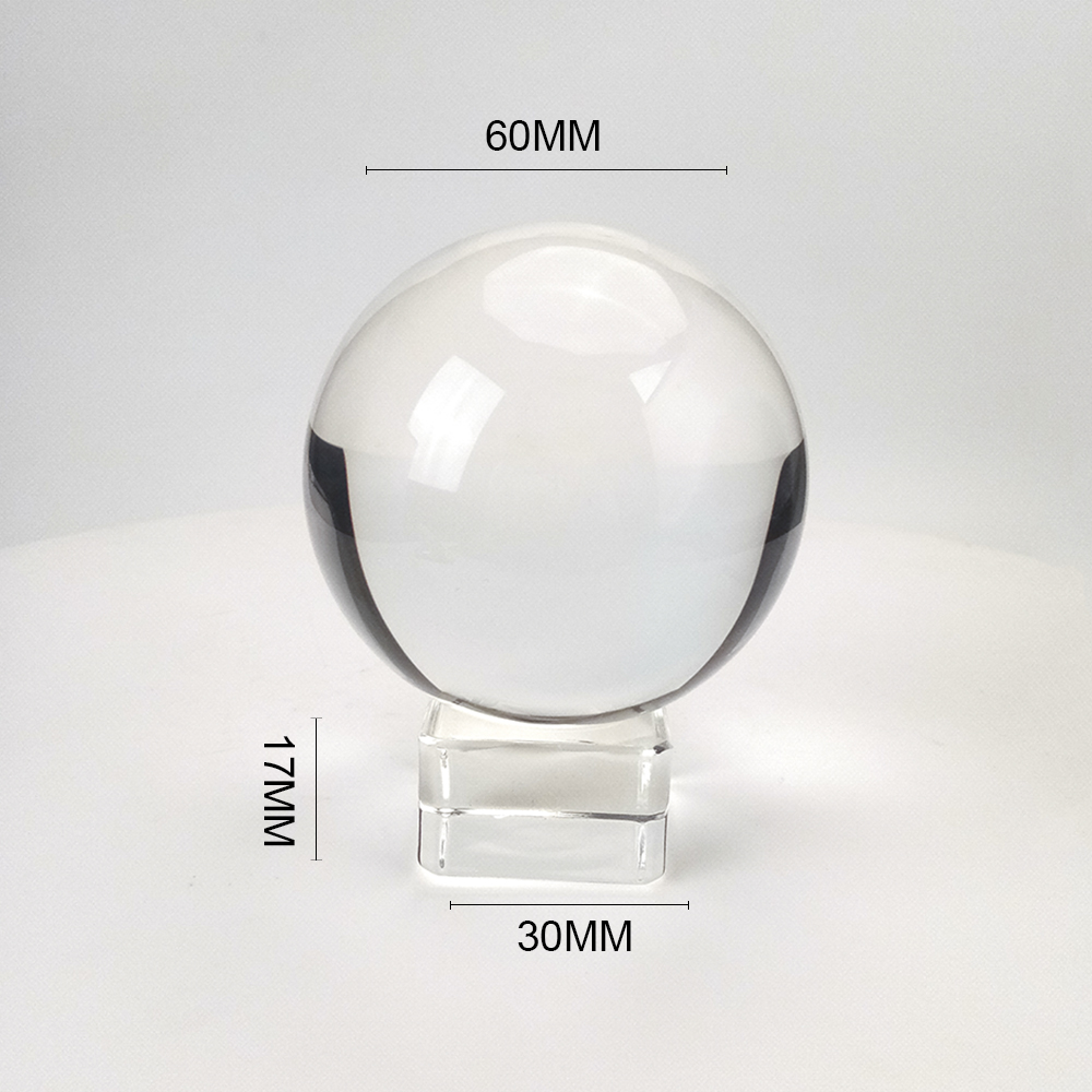 Clear 60mm/70mm/80mm/100mm/120mm Crystal Ball With Free Stand K9 Crystal Glass Ball For Photography Prop
