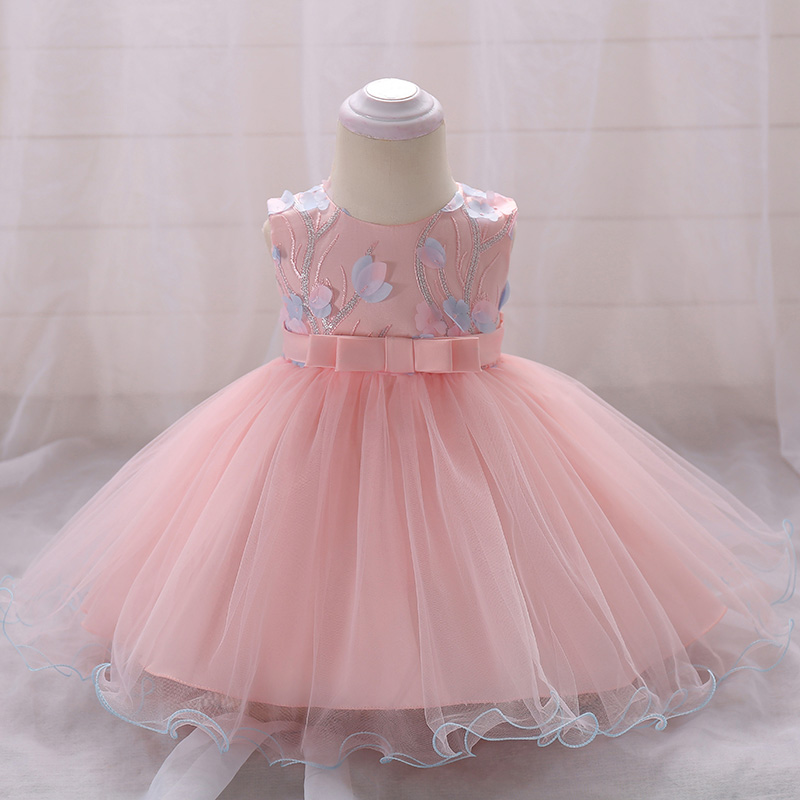 Retail Flower Girls Summer Dresses Princess Wedding Gown Dress Baby Girl Birthday Baptism Princess Dress 6-24 Month L1848XZ
