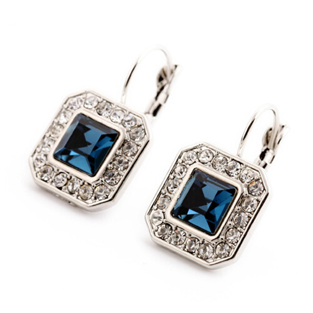 New Blue Geometric Rhinestone Crystal Drop Earrings For Women Trendy Jewelry Elegant Earrings Bijoux Wholesale