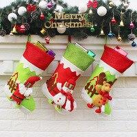 New Year Christmas Stockings Socks Plaid Santa Claus Candy Gift Bag Xmas Santa Claus Snowman Tree