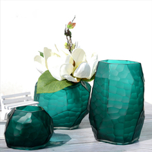 Manual grinding carved glass vase Europe Tabletop Flower Wedding Decorative Geometric vases home decoration accessories