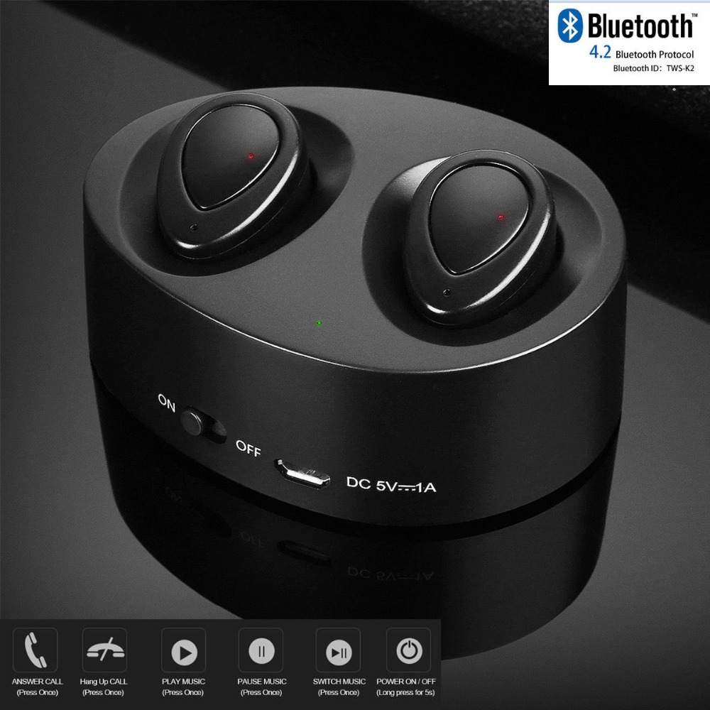 DJYG WS K2 Twins Portable Mini Wireless Ear Bud Stereo Power Bank Bluetooth earphone for phone with charging cradle s5 bluetooth speaker fm radio power bank 20w portable mini computer speaker wireless loudspeaker 4000mah power bank for phone