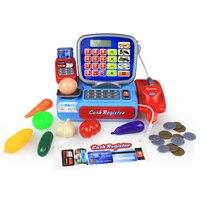 Kids Supermarket Cashier Cash Register Pretend Play Educational Toys For Girls Plastic Electric Groceries Store Worker oyuncak