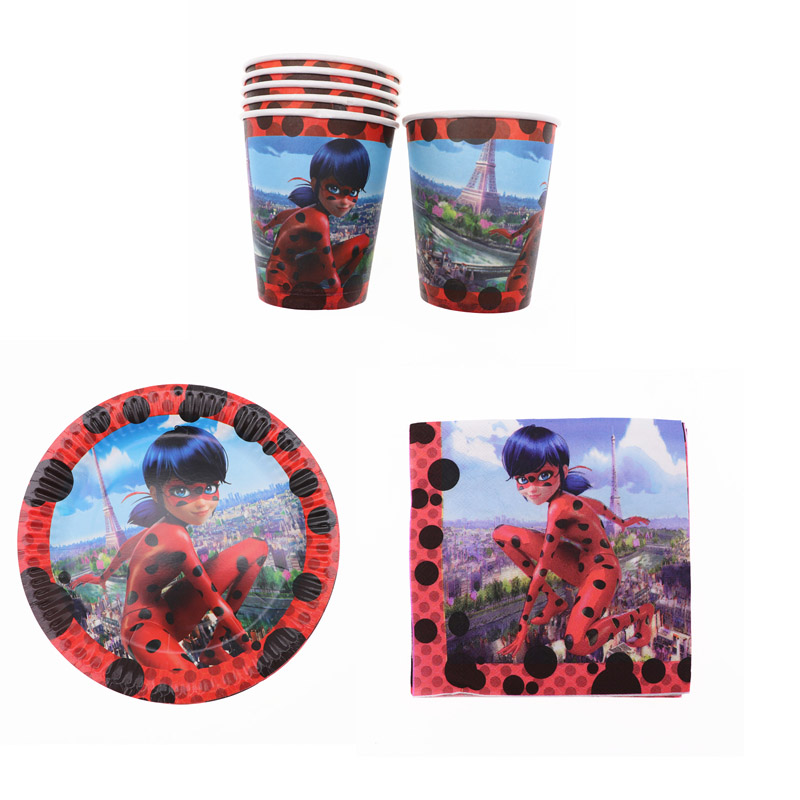 40Pcs Cartoon Ladybug Birthday Party Decorations Kids Disposable Tableware Set Napkin Cup Plate Baby Shower Party Supplies40Pcs Cartoon Ladybug Birthday Party Decorations Kids Disposable Tableware Set Napkin Cup Plate Baby Shower Party Supplies