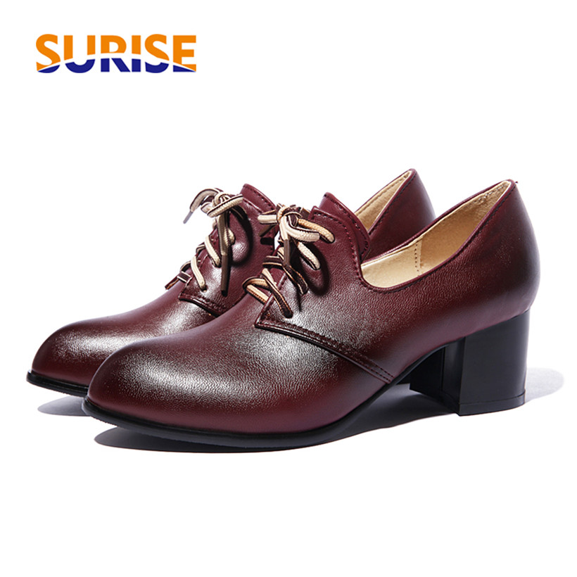 Big Size Spring Women Flats Vintage Oxford Brogue Pointed Toe PU Leather Autumn Lace Up Casual Dress British Lady Black Derby cosidram pointed toe women oxfords spring autumn fashion women flats pu leather lace up women shoes ladies 2017 bsn 023