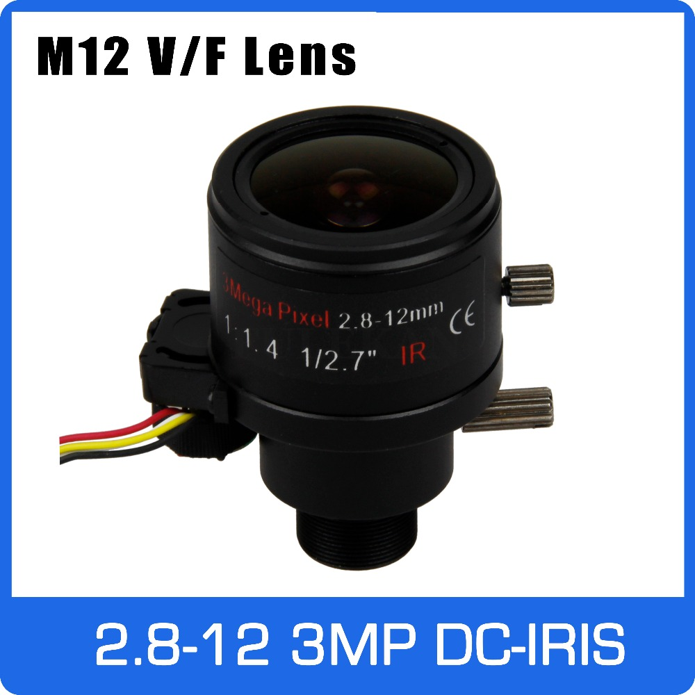 3Megapixel Varifocal CCTV Lens 2.8-12mm M12 Mount 1/2.7 inch with DC-IRIS For 720P/1080P IP/AHD Camera Free Shipping 3megapixel varifocal cctv lens 5 50mm cs mount long distance dc iris for 720p 1080p box camera ip camera free shipping