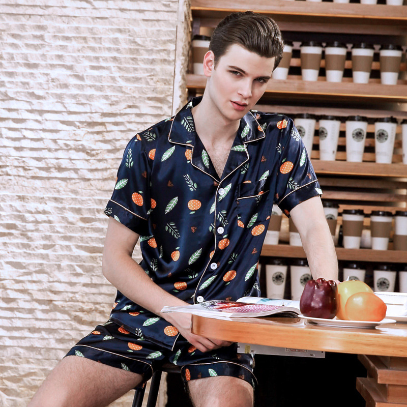 PS0242 2018 New Satin Silk Pajama Set Men Print Summer Pajamas Male Sexy Short Sleeve And Shorts Two Pieces Set Pyjama Sleepwear
