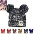 Nova Moda Coreano Meninas Meninos Beanie Chapéus Das Crianças Dos Miúdos Do Bebê Camisola De Malha dupla Bola Cap Chapéus de Inverno Quente Malha chapéus H765