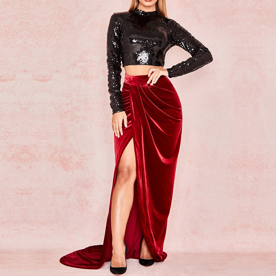 Adyce 2019 New Summer Celebrity Party Two Pieces Sets Women Bodycon Long Sleeve Sequin Club Dress