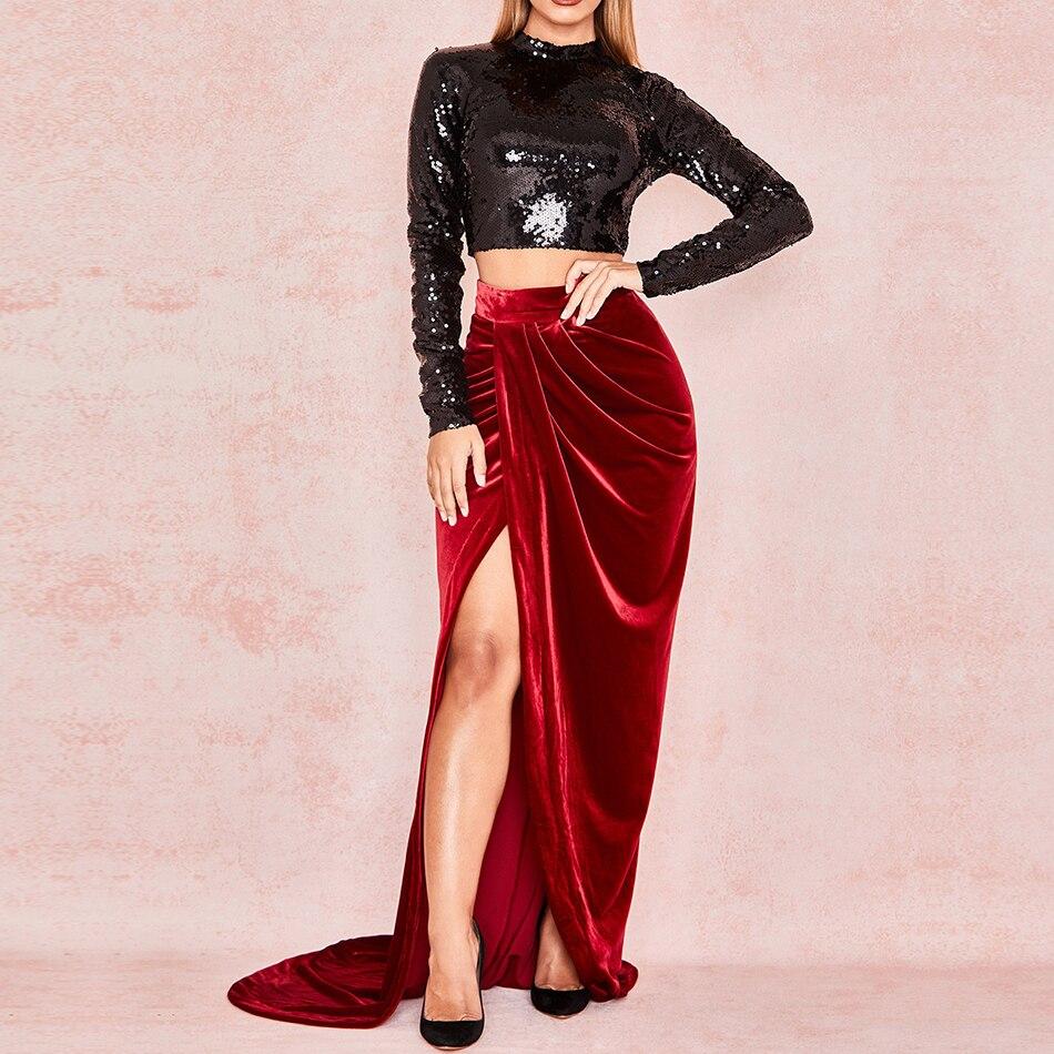 Adyce 2019 새로운 여름 연예인 파티 두 조각 세트 여성 bodycon 긴 소매 스팽글 클럽 드레스 여성 짧은 탑 세트 vestidos-에서드레스부터 여성 의류 의  그룹 1