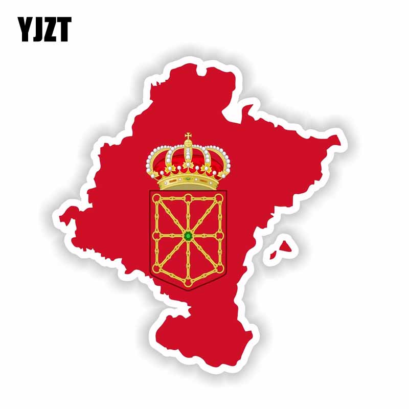 YJZT 12.6CM*13.4CM Comunidad Foral De Navarra Map Flag Car Sticker Motorcycle Decal 6-1656