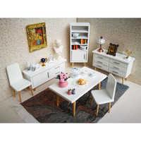Modern Style 1/12 Dollhouse Living Room Furniture Kit Table Desk Chair Cabinet Bookshelf Model Kids Pretend Play Toy