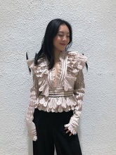 Luxury Brand Runway Designer 2018 Autumn Women Solid Blouse Long Sleeve Hollow Out Fashion Ruffled V-neck Party Coat Shirt Tops