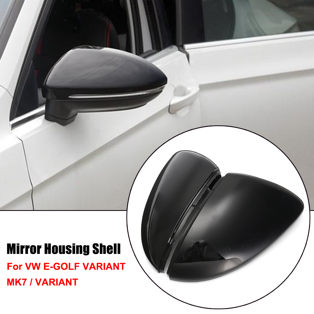 Pair Wing Case Rearview Mirror Cover For VW Golf MK7 Golf Variant E-Golf L+R
