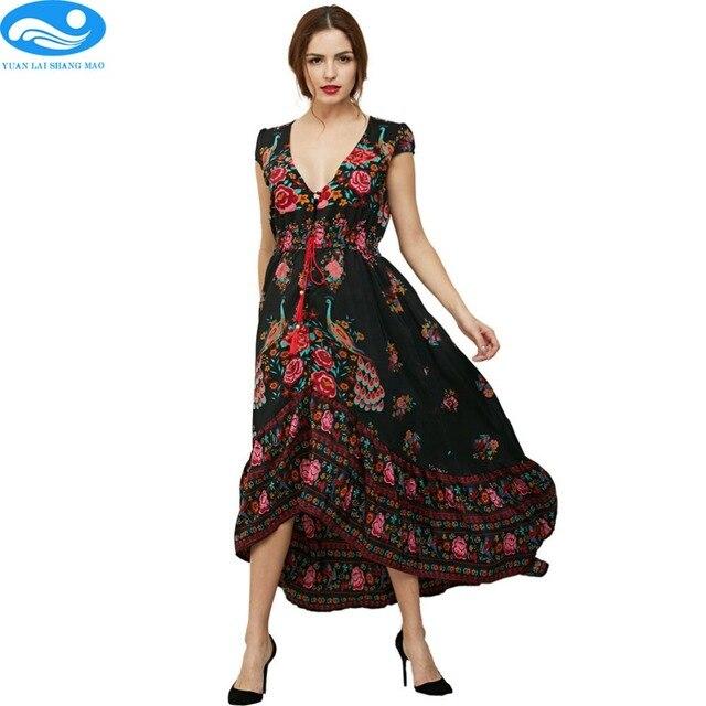 8f8532663e Women printed boho maxi dress sexy v-neck elegant beach summer long dress  black flower long sundresses 2017 casual retro dress