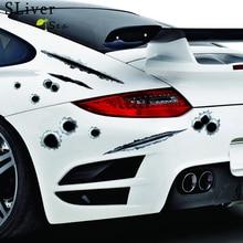 SLIVERYSEA symulacja otwory pojazdów naklejki samochodowe Bullet dziury po kuli pęknięcia otwór samochodów akcesoria motocyklowe Car Styling # B1341