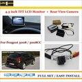 """Traseira do carro Da Câmera + 4.3 """"TFT LCD Monitor de Tela = 2 em 1 Sistema de Back Up de Estacionamento-Para Peugeot 3008/3008CC"""