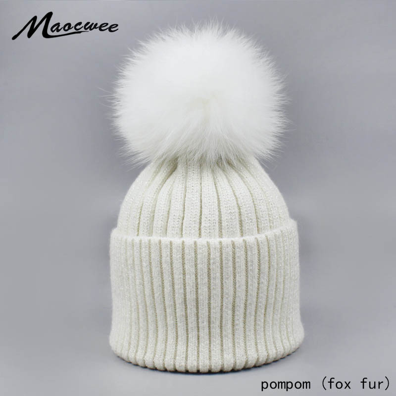 Women's Hats Silver Silver Wire With Fur Pompom Caps Knitted 2018 Autumn Winter Fashion Brand New Hat Female   Skullies     Beanies