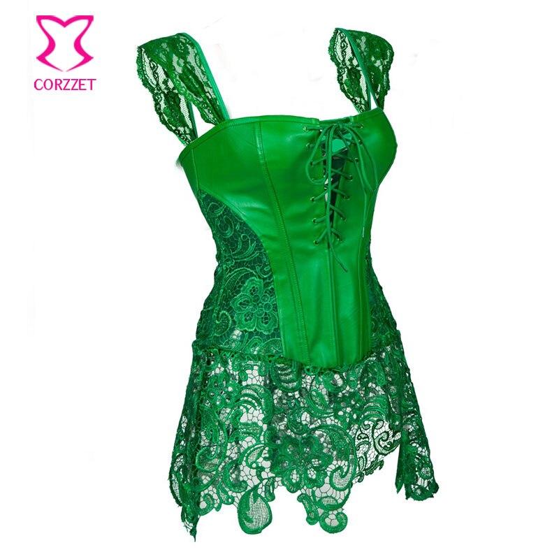 Punk Green Floral Lace Leather Corset Dress Corselet Plus Size