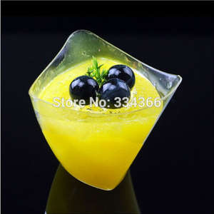 100pcs/lot 4OZ Hard Plastic Dessert Cup 120ml Cake Cube Cup Clear Shot Glasses Plastic Cup For Festival Wedding Decoration