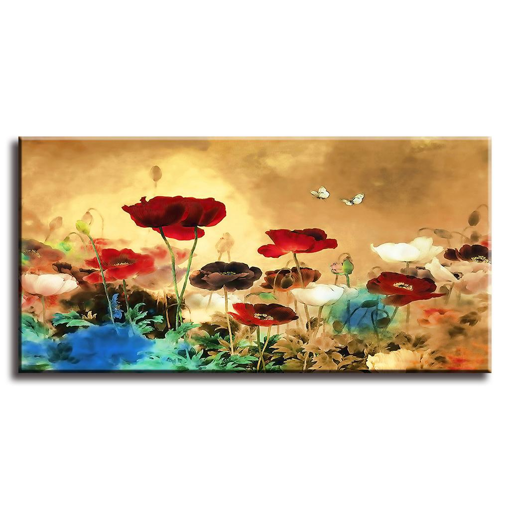 Blooming Poppies Large Colorful Flower Picture Paintings on Canvas ...