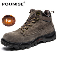 Genuine Leather men shoes winter men boots with fur fashion platform outdoor snow shoes work boots Mans Footwear