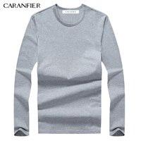 CARANFIER 2017 New Men T Shirt 95 Cotton Male Long Sleeves Shirt O Neck Off White